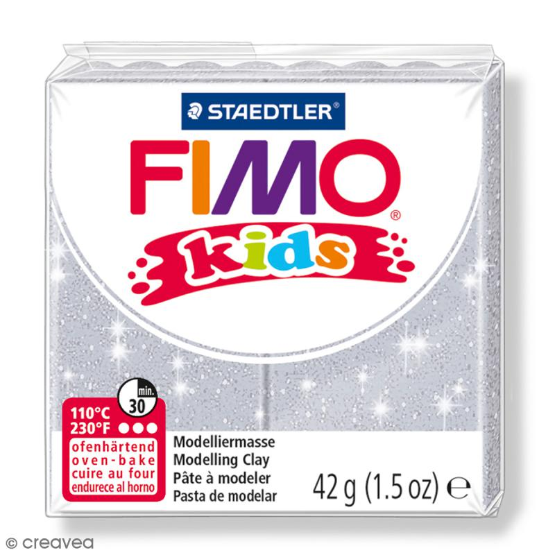 Fimo Kids Gris pailleté 812 - 42 g - Photo n°1