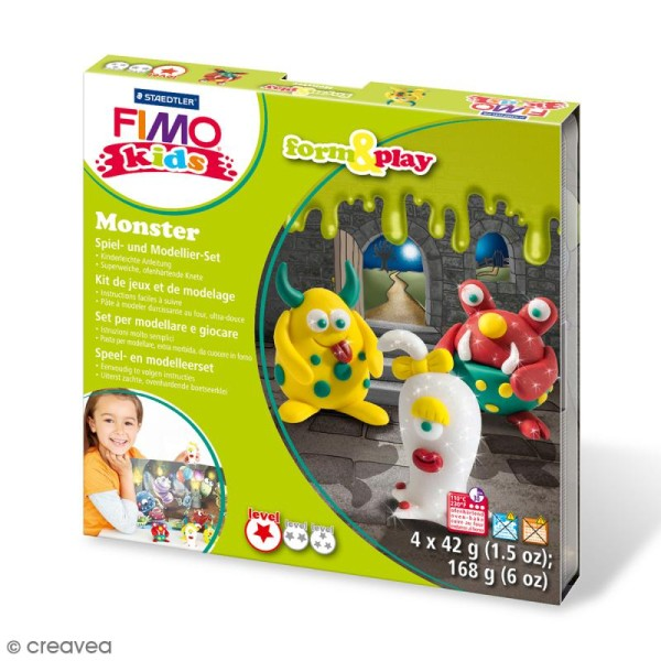 Kit pâte Fimo Kids - Monster - niveau Facile - Photo n°1