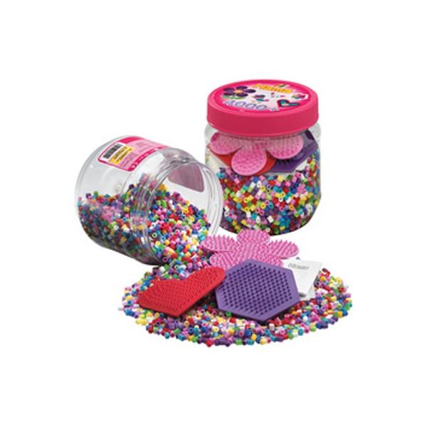 Perles à repasser midi + plaques en boîte plastique - Photo n°1