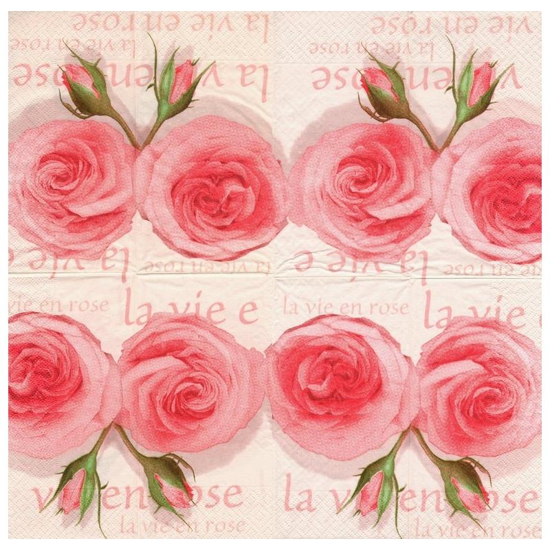 4 Serviettes En Papier La Vie En Rose Pliage Bistro Decopatch 25493 Paperdesign Serviette Fleurs Creavea