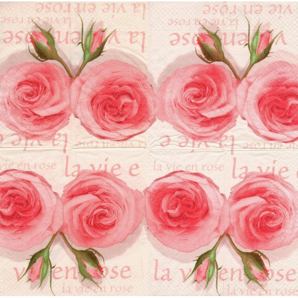 4 Serviettes En Papier La Vie En Rose Pliage Bistro Decopatch 25493 Paperdesign