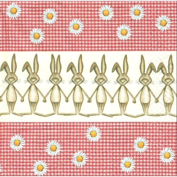 4 Serviettes en papier Lapin Pâques Vichy Format Lunch Decoupage Decopatch LN0547 Colourful Life - Photo n°1