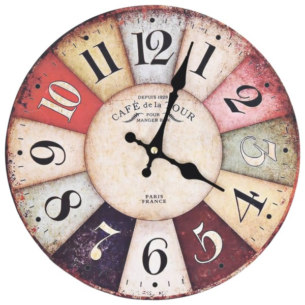 vidaxl horloge murale vintage color e 30 cm horloge d corer creavea. Black Bedroom Furniture Sets. Home Design Ideas
