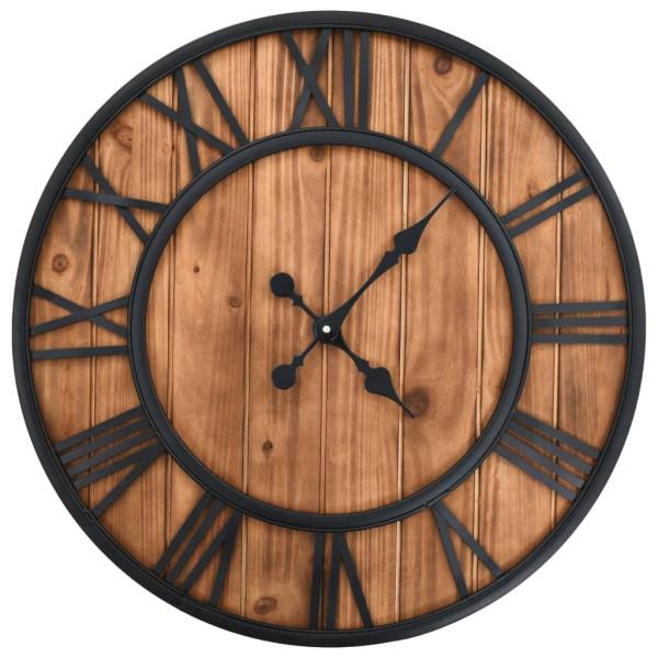 vidaxl horloge murale vintage quartz bois et m tal 60 cm xxl horloge d corer creavea. Black Bedroom Furniture Sets. Home Design Ideas