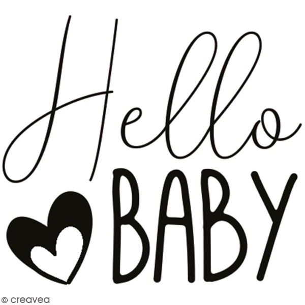 Tampon en bois Aladine - Hello Baby - 4 x 4 cm - Photo n°1