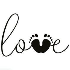 Tampon en bois Aladine - Love empreinte de pieds - 4 x 6 cm