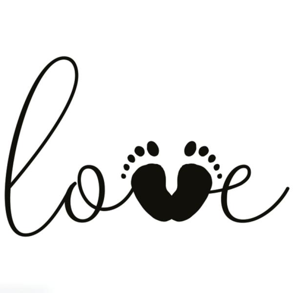 Tampon en bois Aladine - Love empreinte de pieds - 4 x 6 cm - Photo n°1
