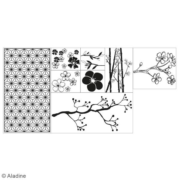 Coffret Tampons en bois - Fleurs - 8 tampons et 1 encreur - Photo n°2