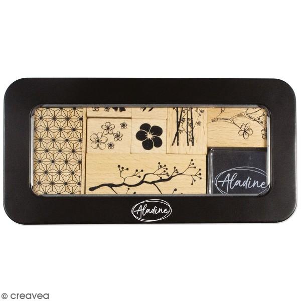 Coffret Tampons en bois - Fleurs - 8 tampons et 1 encreur - Photo n°1