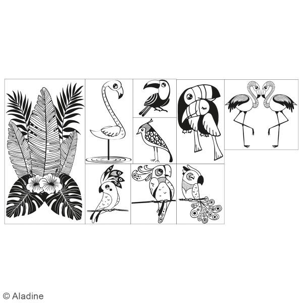Coffret Tampons en bois - Oiseaux tropicaux - 9 tampons et 1 encreur - Photo n°2