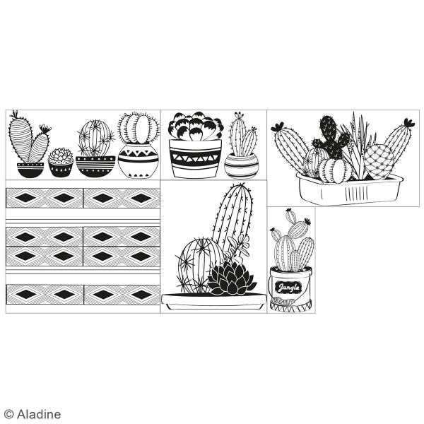 Coffret Tampons en bois - Cactus - 6 tampons et 1 encreur - Photo n°2