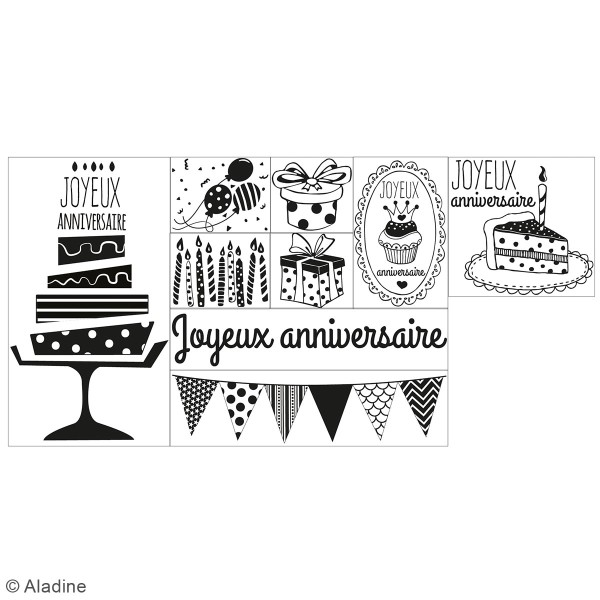 Coffret Tampons en bois - Anniversaire - 9 tampons et 1 encreur - Photo n°2