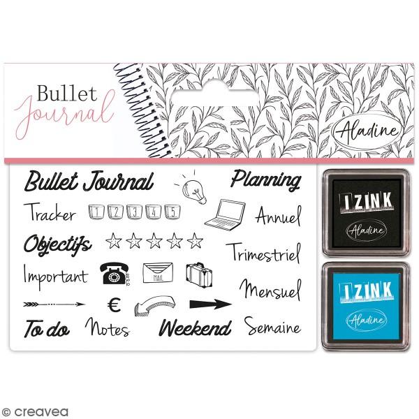 Kit de tampons Stampo Bullet Journal - Organisation bureau - 24 tampons et 2 encreurs - Photo n°1