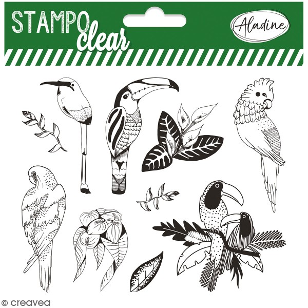 Kit Stampo Clear - Oiseaux tropicaux - 10 tampons clear - Photo n°1