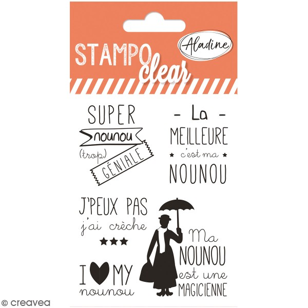 Kit Stampo Clear - Nounou - 5 tampons clear - Photo n°1