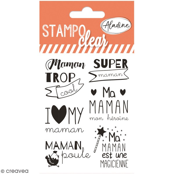 Kit Stampo Clear - Maman - 6 tampons clear - Photo n°1