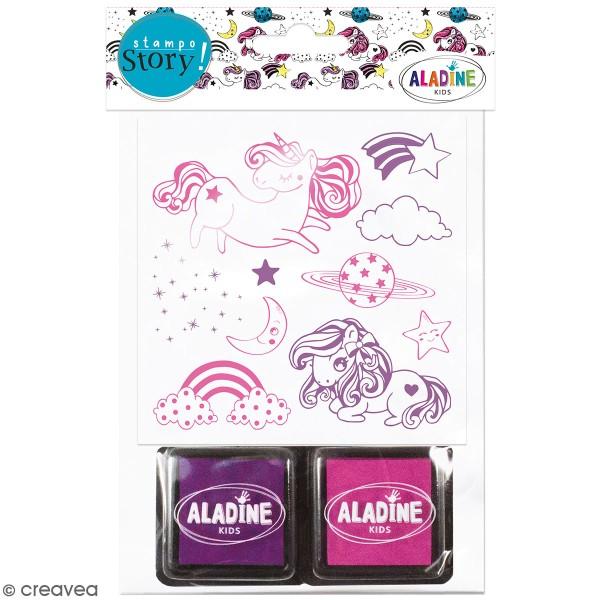 Kit de tampons Stampo Story - Licornes - 10 tampons et 2 encreurs - Photo n°1