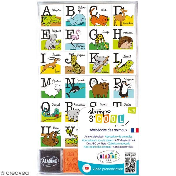 Kit de tampons Stampo S'Cool - Abécédaire des animaux en Français - 27 tampons et 1 encreur - Photo n°1