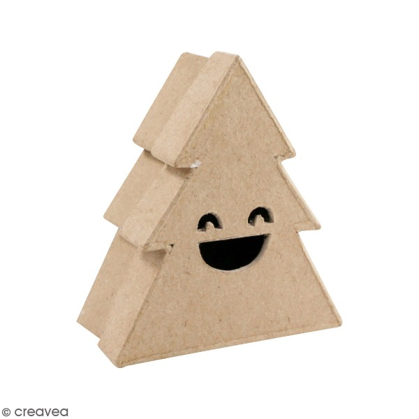 Boîte Sapin rieur en papier mâché - 9 x 10 cm - Boite en papier maché à  décorer - Creavea