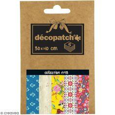 Papiers Décopatch Pocket - Collection n° 13 - 30 x 40 cm - 5 pcs