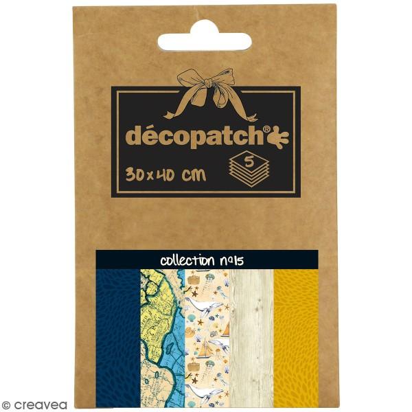 Papiers Décopatch Pocket - Collection n° 15 - 30 x 40 cm - 5 pcs - Photo n°1