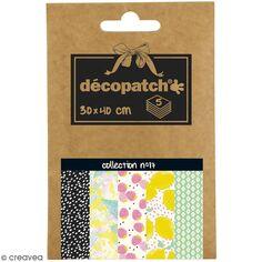 Papiers Décopatch Pocket - Collection n° 17 - 30 x 40 cm - 5 pcs