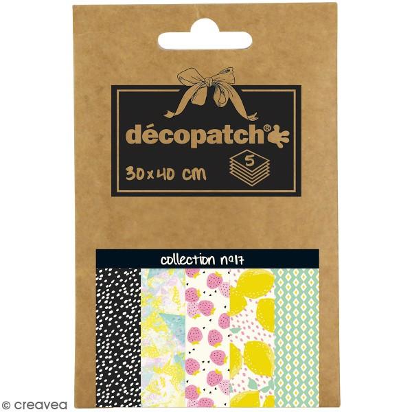 Papiers Décopatch Pocket - Collection n° 17 - 30 x 40 cm - 5 pcs - Photo n°1