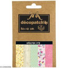 Papiers Décopatch Pocket - Collection n° 18 - 30 x 40 cm - 5 pcs