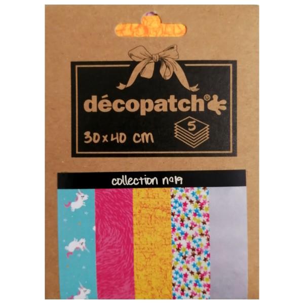 Papiers Décopatch Pocket - Collection n° 19 - 30 x 40 cm - 5 pcs - Photo n°1