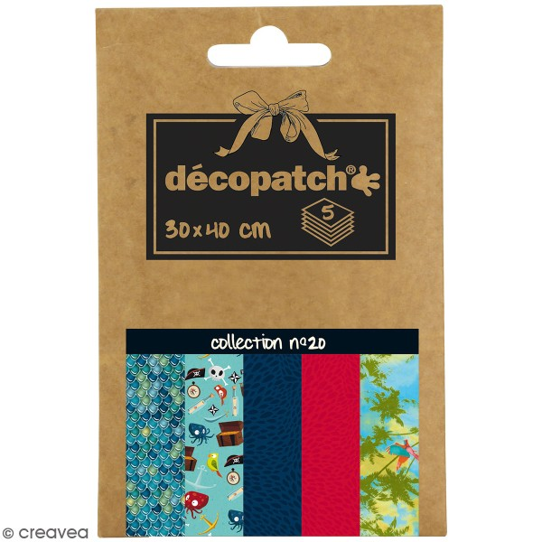 Papiers Décopatch Pocket - Collection n° 20 - 30 x 40 cm - 5 pcs - Photo n°1
