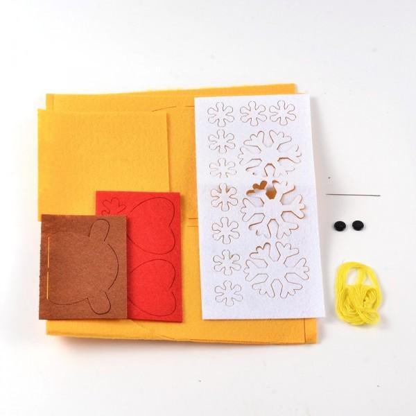 Kit Boite Cadeau en feutrine Petit Renne JAUNE - Photo n°2