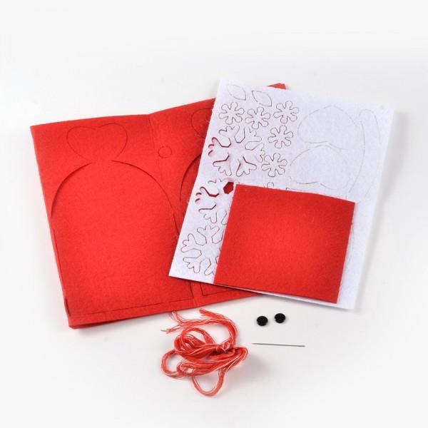 Kit Boite Cadeau en feutrine Père Noel ROUGE - Photo n°2