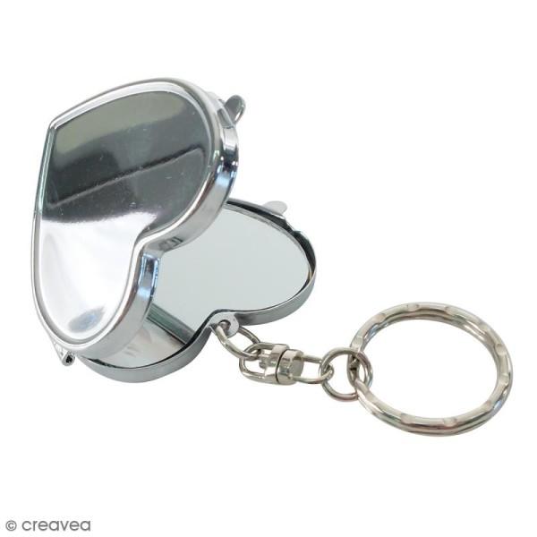 Porte clés miroir métallique DTM - Coeur - 4,7 x 4,5 cm - Photo n°2