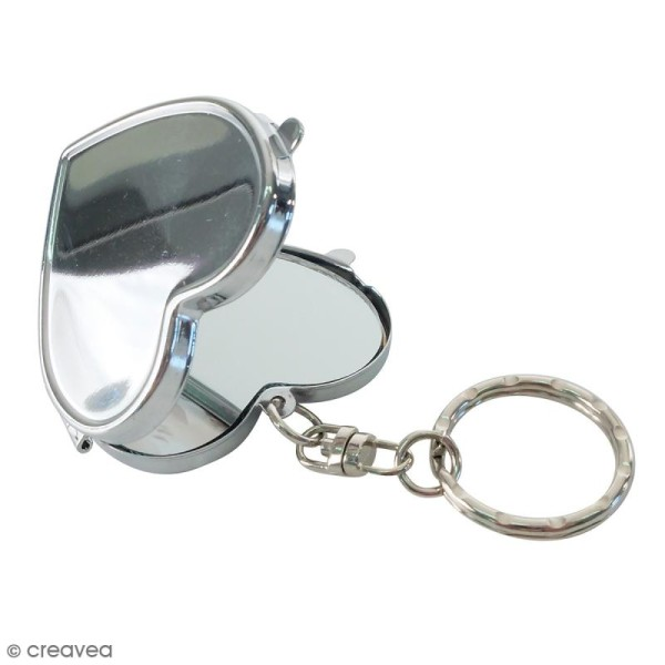 Porte clés miroir métallique DTM - Coeur - 4,7 x 4,5 cm - Photo n°1