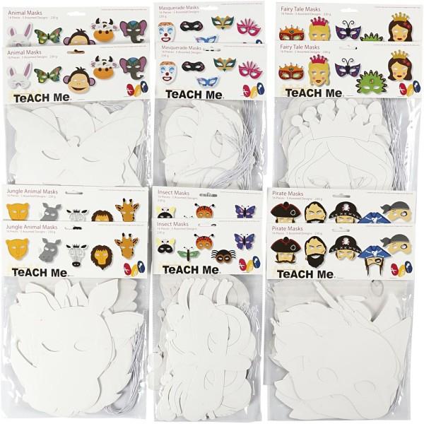 Masques en papier cartonné, h: 15-22 cm, l: 24-25 cm, 192 pièces, blanc - Photo n°1