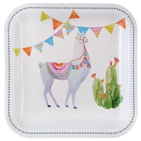 10 Assiettes en carton décor Lama - Photo n°1