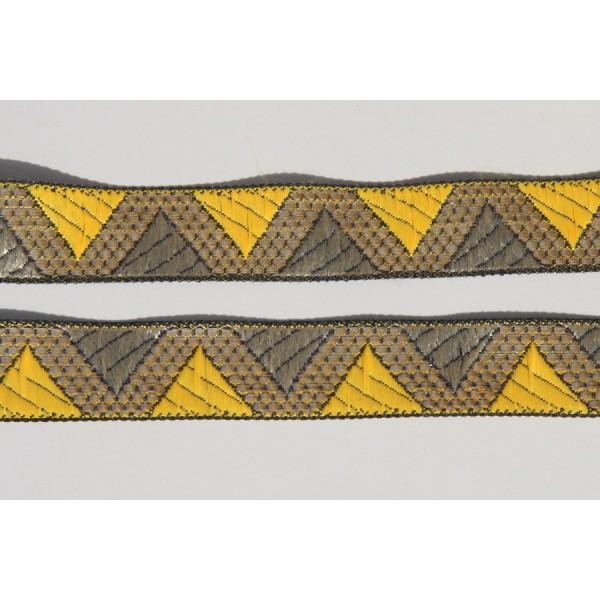 Galon ethnique de 28 mm de large, ruban indien doré et jaune - Photo n°2