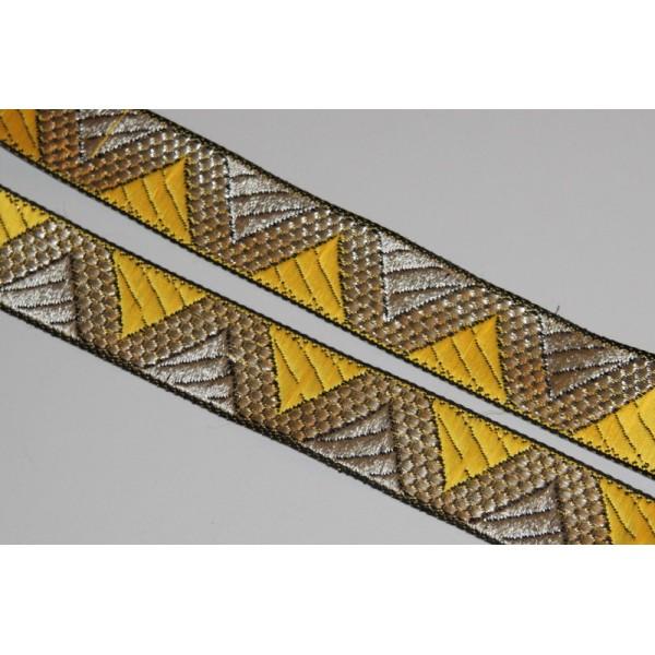 Galon ethnique de 28 mm de large, ruban indien doré et jaune - Photo n°1