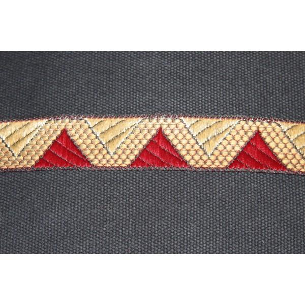 Galon ethnique de 28 mm de large, ruban indien doré et bordeau. - Photo n°2