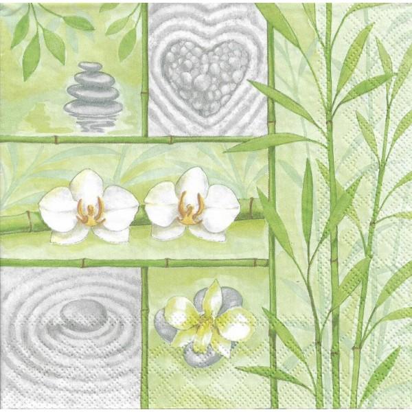 4 Serviettes en papier Asie Bambou Zen Format Lunch Decoupage Decopatch 13311600 Ambiente - Photo n°2