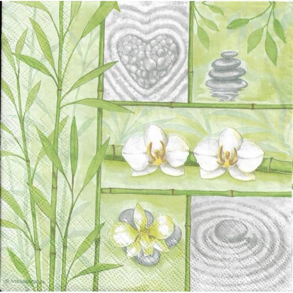 4 Serviettes en papier Asie Bambou Zen Format Lunch Decoupage Decopatch 13311600 Ambiente - Photo n°1