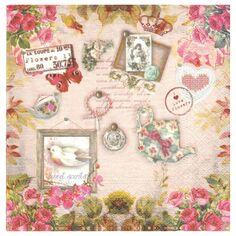 aff2f46ddfdd94 4 Serviettes en papier Decor Vintage Format Lunch Decoupage Decopatch 74481  Nouveau