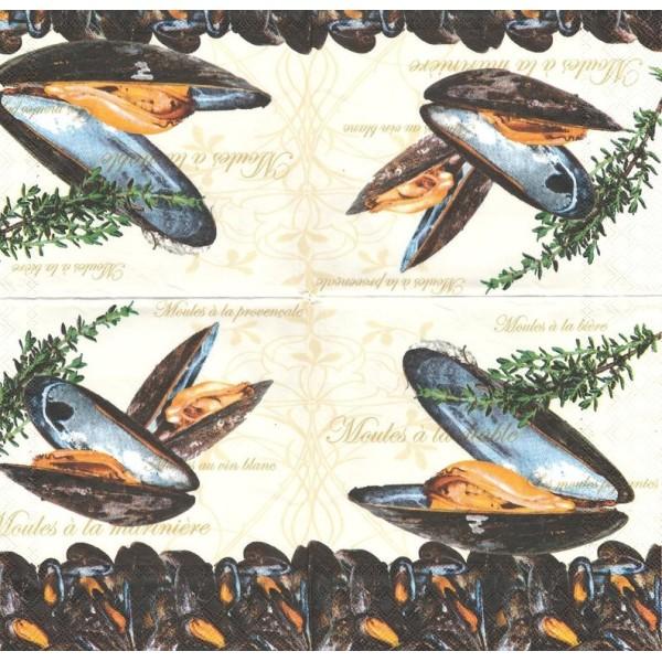 4 Serviettes en papier Moules Format Lunch Decoupage Decopatch 13304780 Ambiente - Photo n°1