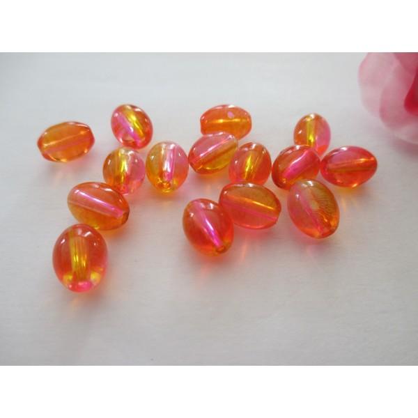 Lot de 20 perles craquelées Ovales en verre 10 x 14 mm Orange