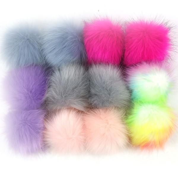 12 Magnifiques Pompons Fausse Fourrure 5-7cm - Multicolore- SC0119576 - Photo n°1