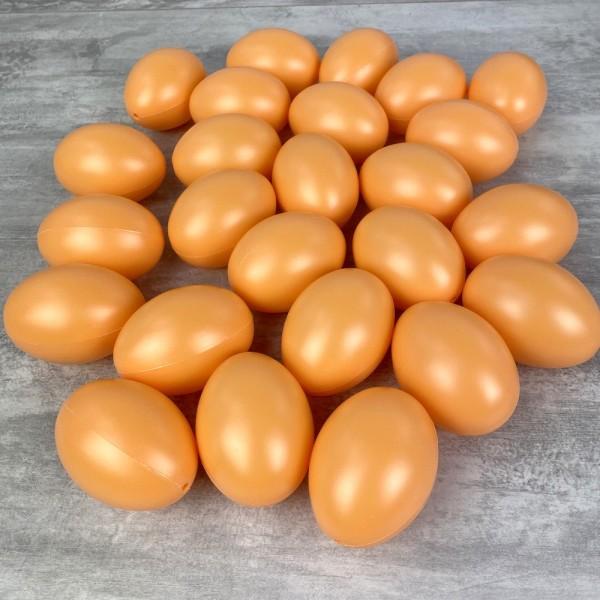 Gros Lot de 25 Oeufs en plastique, Orange Clair, haut. 6 cm, idéal pour la chasse aux oeufs de pâque - Photo n°1