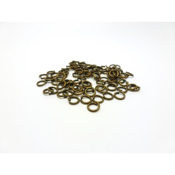 100 Anneaux de jonction ouverts - 5mm - Bronze - Epaisseur 0.8mm - Photo n°1