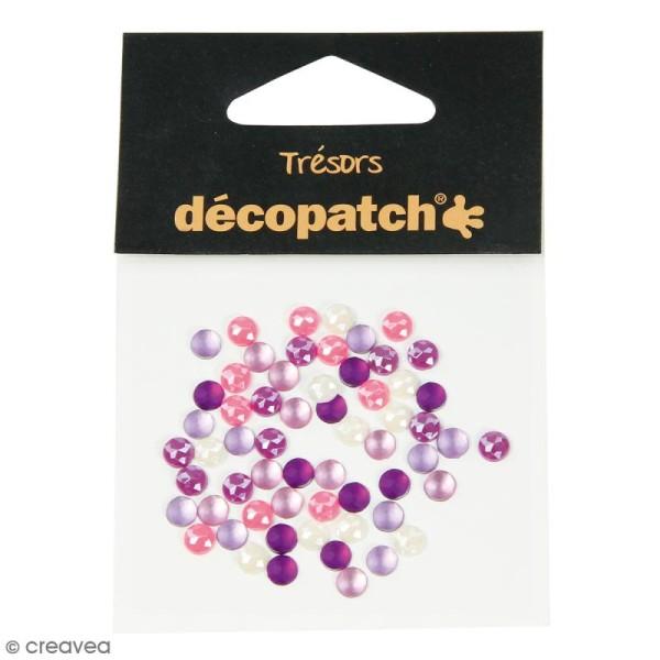 Cabochons ronds - Rose et violet - 5 mm - 60 pcs - Photo n°1