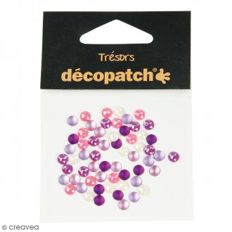Cabochons ronds - Rose et violet - 5 mm - 60 pcs