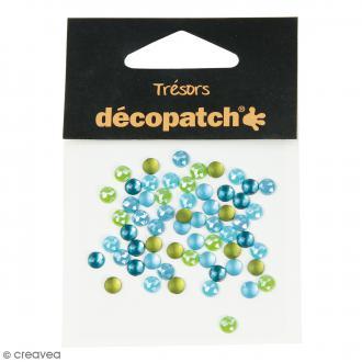 Cabochons ronds - Bleu et vert - 5 mm - 60 pcs